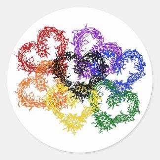 Rainbow Woven Hearts Round Sticker