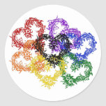 Rainbow Woven Hearts Round Stickers
