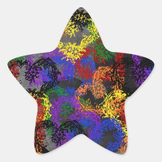 Rainbow Woven Hearts Star Sticker