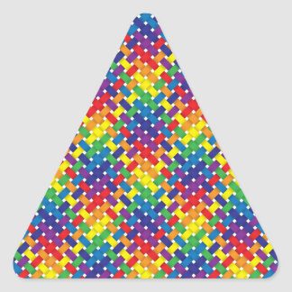 Rainbow Woven Pattern Design Triangle Sticker