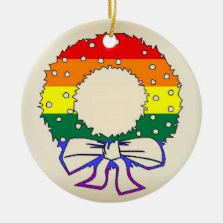Rainbow Wreath Round Ceramic Decoration
