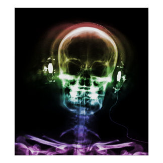 Rainbow X-Ray Music Headphones Skeleton Poster