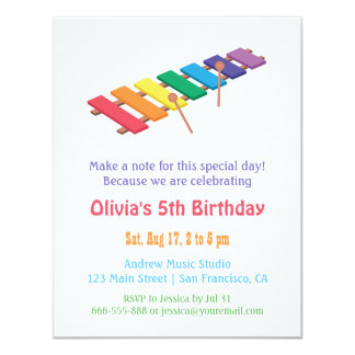 Rainbow Xylophone Kids Music Themed Birthday Party 11 Cm X 14 Cm Invitation Card
