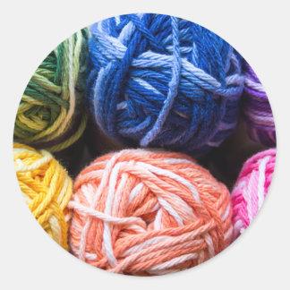 Rainbow yarn round sticker
