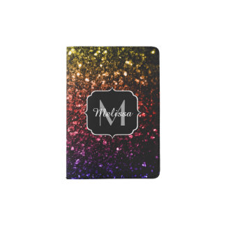 Rainbow yellow red purple sparkles Monogram Passport Holder