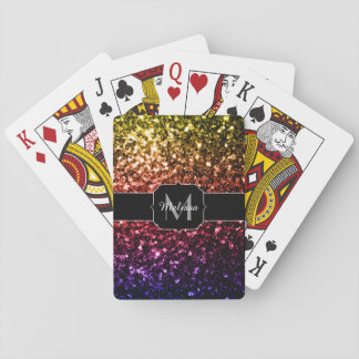 Rainbow yellow red purple sparkles Monogram Playing Cards