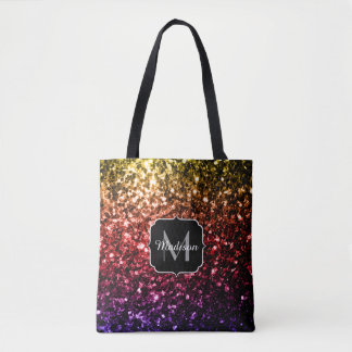 Rainbow yellow red purple sparkles Monogram Tote Bag