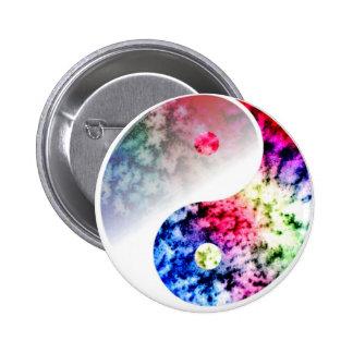 Rainbow Yin Yang 6 Cm Round Badge