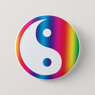 Rainbow Yin Yang Button