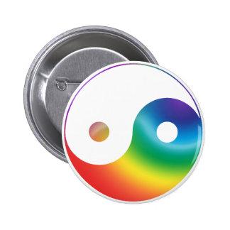 Rainbow Yin Yang Symbol 6 Cm Round Badge