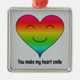 Rainbow you make my heart smile christmas ornament
