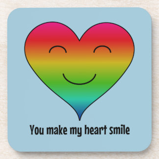 Rainbow you make my heart smile coaster