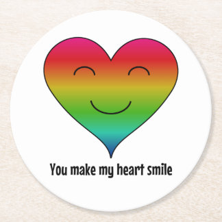 Rainbow you make my heart smile round paper coaster