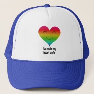 Rainbow you make my heart smile trucker hat