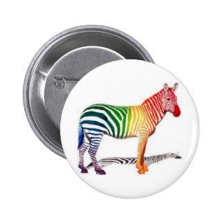 Rainbow Zebra 6 Cm Round Badge