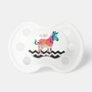 Rainbow Zebra Animals Monogrammed Pattern Party Baby Pacifier