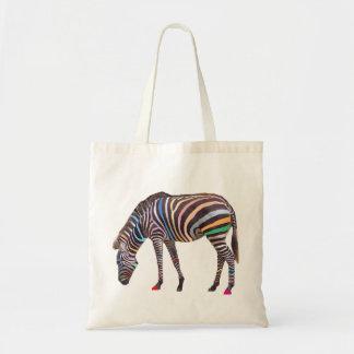 Rainbow Zebra Budget Tote Canvas Bags