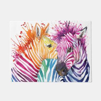 Rainbow Zebra Doormat