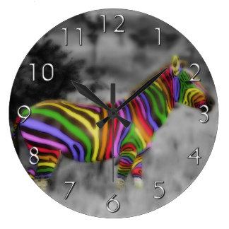 Rainbow Zebra Large Clock