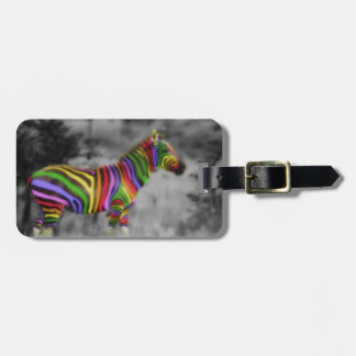 Rainbow Zebra Luggage Tag