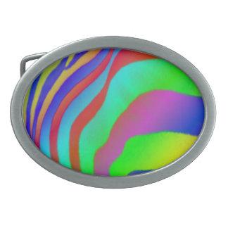 Rainbow Zebra Print Belt Buckles