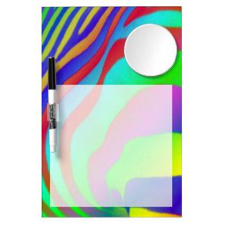 Rainbow Zebra Print Dry Erase Board With Mirror