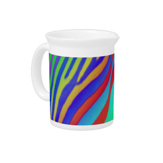 Rainbow Zebra Print Pitcher