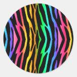 Rainbow Zebra Safari Animal Print Round Sticker