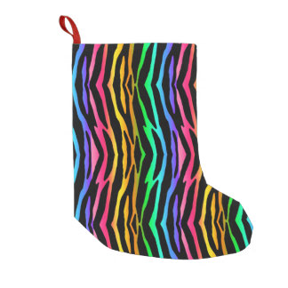 Rainbow Zebra Safari Animal Print Small Christmas Stocking