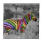 Rainbow Zebra Small Square Tile