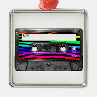 Rainbow Zebra Stripes Cassette Christmas Ornaments