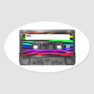 Rainbow Zebra Stripes Cassette Oval Sticker