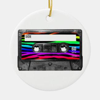 Rainbow Zebra Stripes Cassette Round Ceramic Decoration