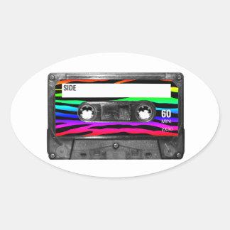 Rainbow Zebra Stripes Cassette Oval Stickers