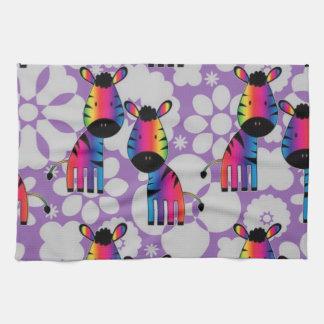 Rainbow Zebra Tea Towel
