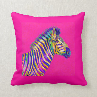 rainbow zebra with fuschia pink pillow