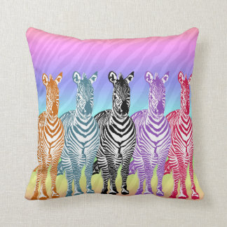 Rainbow Zebras Cushion