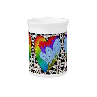 Rainbow zen tangle heart beverage pitchers