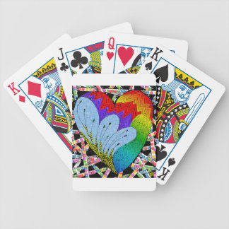 Rainbow zen tangle heart bicycle playing cards
