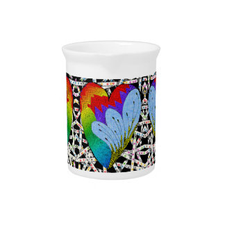 Rainbow zen tangle heart pitcher
