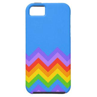 Rainbow Zig Zag Pattern. Part Plain Blue. Tough iPhone 5 Case