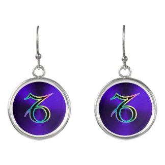 Rainbow Zodiac Sign Capricorn On Blue Earrings