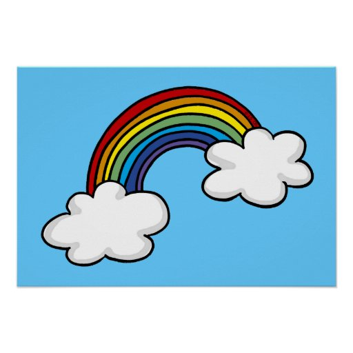 Rainbows and clouds poster