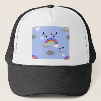 rainbows and rainclouds trucker hat