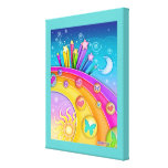Rainbows and Stars Pop Art Sky Gallery  Wrapped Ca Gallery Wrapped Canvas