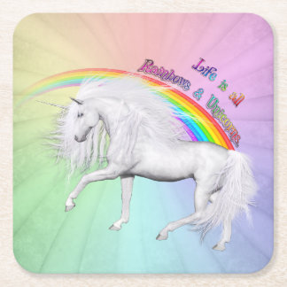 Rainbows and Unicorns Square Paper Coaster
