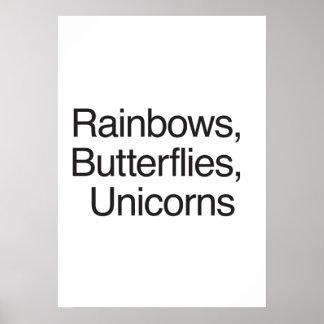 Rainbows Butterflies Unicorns Poster