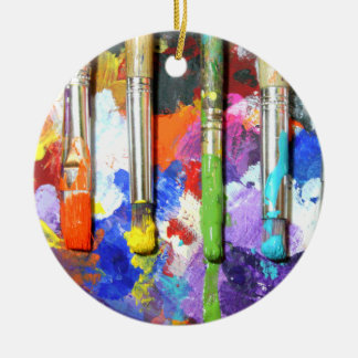 Rainbows In Progress Paint Brush Photography Christmas Ornament