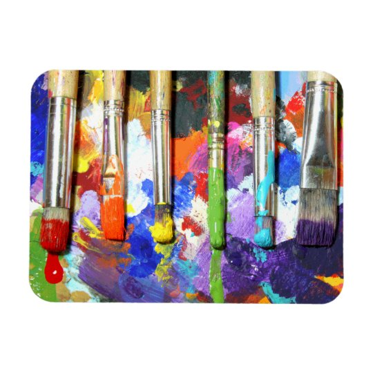 Rainbows In Progress Paint Brush Photography Rectangular Photo Magnet