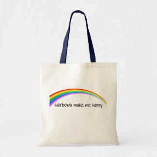 rainbows make me happy in color tote bag